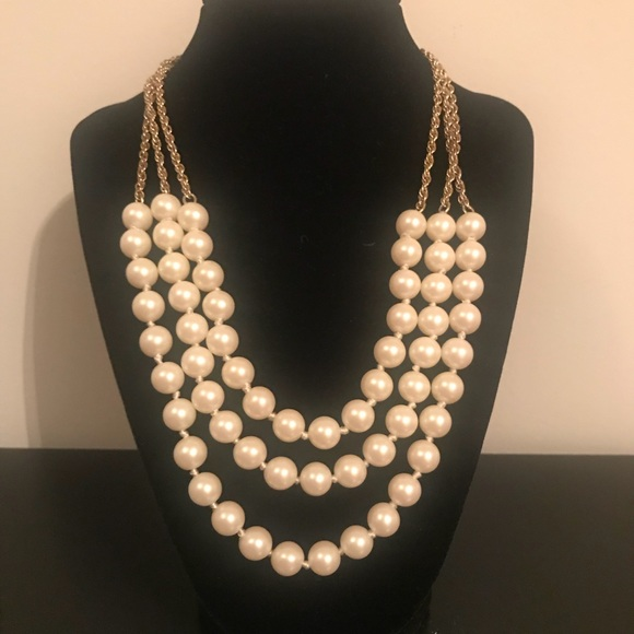3 layer faux pearl necklace